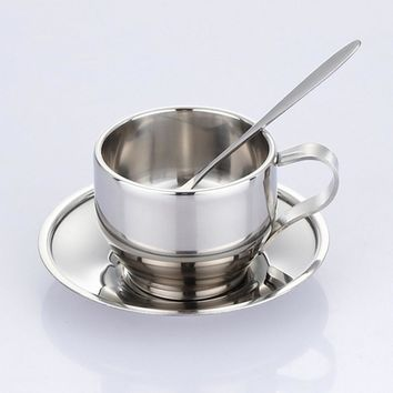 125ml high quality steel cup saucer and spoon set stainless steel double wall coffee mug