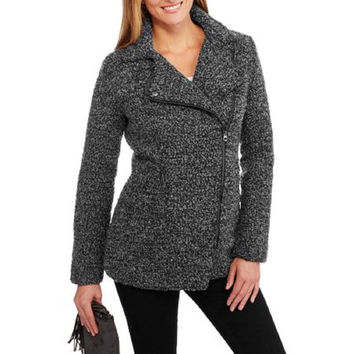 Maxwell Studio Women's Boucle Asymmetrical Moto Coat, Grey\Black, S