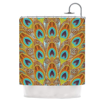 "Art Love Passion ""Peacock Pattern"" Brown Teal Shower Curtain"