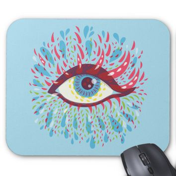 Colorful Tears Weird Blue Psychedelic Eye Mouse Pad