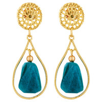 Golden Lattice w/ Teal Jade Earrings, Drops Earrings