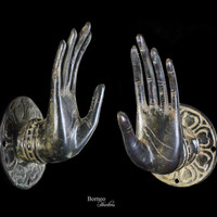 "Bronze Mudra Hand For The Wall 6""Buddha Hand Sculpture Abhaya Mudra Gesture of Protection/Fearless Offering Blessing&Protection~Key Holder"