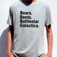 The Office TV show mens T shirt Bears Beets Battlestar Galactica DWIGHT SCHRUTE
