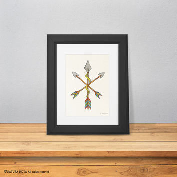 Arrows print-watercolor arrows print-tribal arrows print-boho print-nursery print-children wall art-native american art-NATURA PICTA-NPWP06
