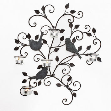 Decorative Iron Tea Light Candle Sconce with Birds (Holds 5 Tea Light Candles)