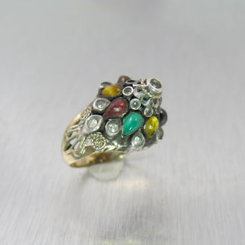 Antique 9ct Gold Thai Princess Ring, Moghul Harem Multi Gemstone Crown Ring, 1920s Vintage Bridal Jewelry, Boho, Unique Engagement Ring