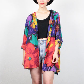 Vintage 1990s Blouse Rainbow Watercolor Floral Print Shirt 1980s Shirt Button Down Long Sleeve Draped Oversized Shirt XL Extra Large XXL
