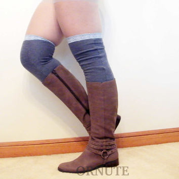 Thigh High  Legwarmers- Over The Knee Upcycled Wool Lace Knit Leg Warmers Boot Socks- Denim Blue - Ready to Ship