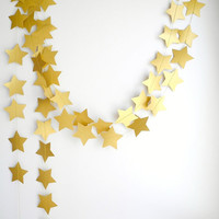 Gold Bronze star Garland, Holiday decoration, Gold party garland, Christmas garland