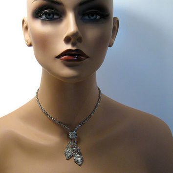 Vintage Rhinestone Necklace 19 Inch Silver Tone Lariat Formal Wedding Prom Holiday Bling Glitz Glam Jewelry Mid Century