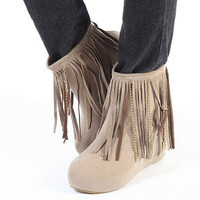 Discounted Cheap Price Tassel Ladies Wedges Apricot : Wholesaleclothing4u.com