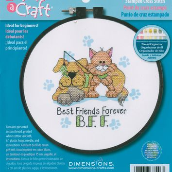 """Best Friends Forever Dimensions/Learn-A-Craft Stamped Cross Stitch Kit 6"""" Round"""