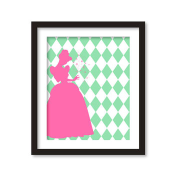 Nursery art - Silhouette of pink princess and mint rhombus- disney princess- girl room decor