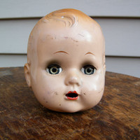 Creepy Doll Head / Collectable Doll / Composition