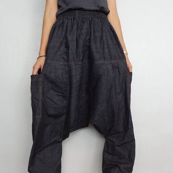 Harem Baggy Unisex pants,Drop Crotch Long Trouser, Denim Lightweight (pants-20).