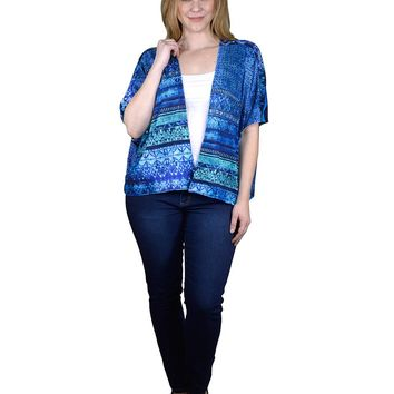 Plus Size Printed Open Front Shrug