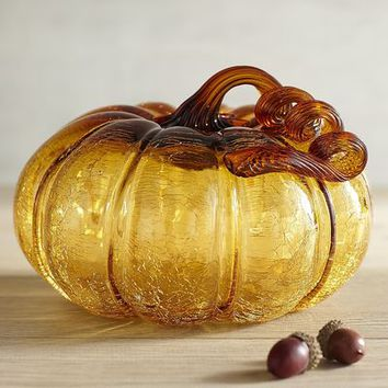Amber Crackle Glass Squatty Pumpkin