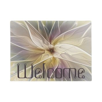Floral Fantasy Pattern Abstract Fractal Art Text Doormat