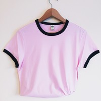 Olivia Pink and Black Ringer Tee