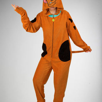 Scooby Doo Footed Hooded Adult Pajamas