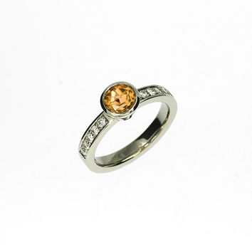 Yellow imperial topaz engagement ring, diamond ring, unique engagement, bezel, solitaire, rare gem, yellow engagement, topaz ring, custom