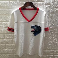 GUCCI Women Fashion Wolf Head Embroidery Shirt Top Tee
