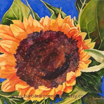 Sunflower Art Print, Sunflower Watercolor Painting, Sunflower Painting, Tuscan Blue Flower Painting, Home Wall Decor Gift Barbara Rosenzweig