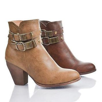 Raven1D Almond Toe Double Antique Buckle Zip Up Block Heel Ankle Boots