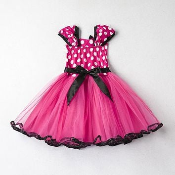 Summer Dresses for Girls Dot Pattern Kids Girl Clothes Toddler First 1st Birthday Party Gowns Fancy Children Min Cute Costume