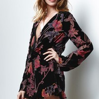 Honey Punch Floral Print Long Sleeve Romper - Womens Dress - Floral
