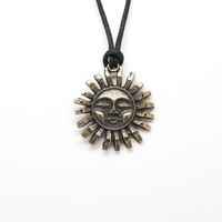 Face of Sun Unisex Necklace with Rope