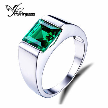 Jewelrypalace Men's Square 2.2ct Created Russian Nano Green Emerald Engagement Ring 925 Sterling Sliver Vintage Jewelry Gift