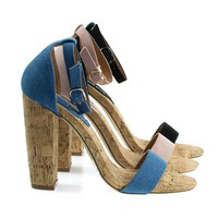 Fay6 Blue Denim By X2B, Chunky Block Heel Sandal On Faux Cork Texture. Women's Jean Shoes