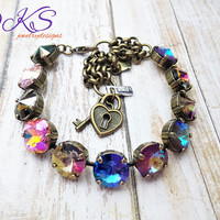 Color in Motion, Swarovski 12mm Bracelet, multi, Antique Brass, Boutique Style,Adjustable, DKSJewelrydesigns, FREE SHIPPING