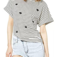Black And White Stripe Eye Pattern Short Sleeve T-shirt