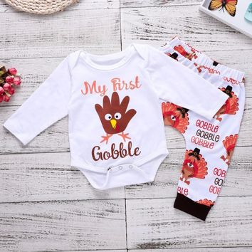 a3971839fe4 My First Thanksgiving Boy Turkey Outfit Baby Girl Clothes Set Autumn Long  Sleeve Bodysuit + Leggings