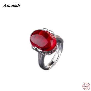 Ataullah Classic Ruby Emerald Sapphire Agate 925 Sterling Silver Rings for Women Luxury Certificate Adjustable Rings RWD833