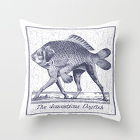 IF FISHES HAD LEGS (navy) Throw Pillow by Chicca Besso