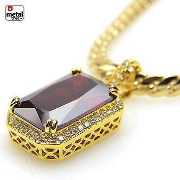 Jewelry Kay style Men's 14K Gold Plated Mini Red Ruby Pendant Miami Cuban Chain Necklace BCH 11174
