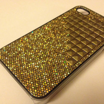 Gold Pyramid Studded on Gold Glitter iPhone 4/4S Case for ATT & Verizon