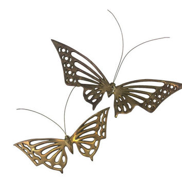 Brass Butterfly Wall Decor Vintage Boho 3d Wall Hanging Art Retro 70s Monarch Butterflies Moth Flying Insect Pair