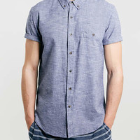 Navy Twist Yarn Short Sleeve Shirt - Men's Shirts - Clothing