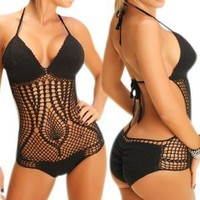 LOCOMO One Piece Style Crochet Bathing Suit Monokini Bikini Swimsuit