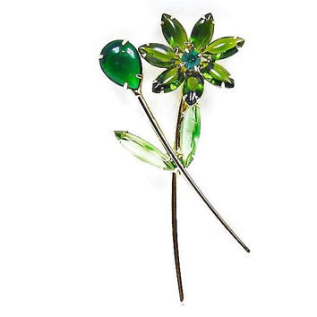 Rhinestone Flower Floral Brooch / Hand Blown Glass