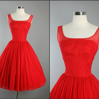 1950s Vintage Elegant  Movie Star RED CHIFFON Cocktail Party Dress