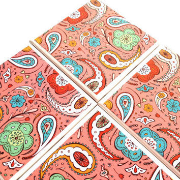 Ceramic Tile Coasters Coral Paisley Pink Drink Set