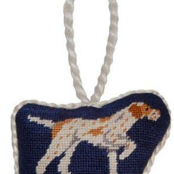 Pointer Needlepoint Christmas Ornament in Navy Blue by Smathers & Branson