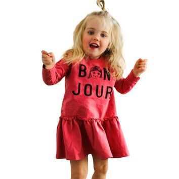 Toddler Baby Girl Long Sleeve Dress Letter Print Princess Dress Outfits Clothes Fashion Cute Cotton Autumn Fall Girl Dress