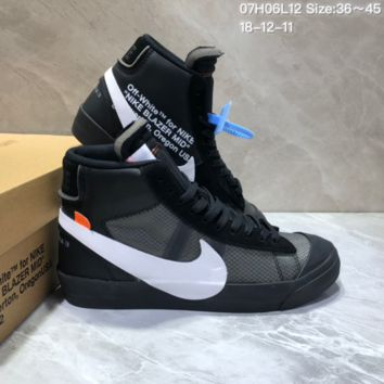 DCCK2 N673 Off White x Nike Blazer High All Hallows Eve Skate Shoes Black