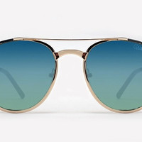 Quay Sundance Gold Sunglasses, Blue Lenses